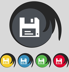 Floppy icon sign symbol on five colored buttons vector