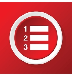 Numbered list icon on red vector