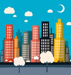 Abstract Night Flat Design City vector image