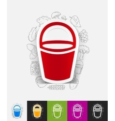 Bucket paper sticker with hand drawn elements vector