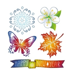 New year iconssymbols and ribbon vector