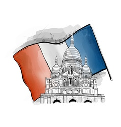 Sacre coeur on the france flag vector