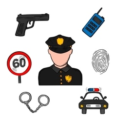 Policeman in uniform and police icons vector image