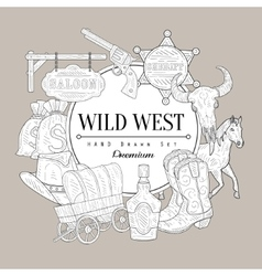 Wild west set vintage sketch vector