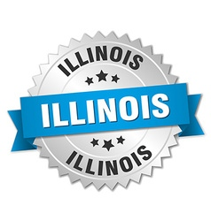 Illinois round silver badge with blue ribbon vector