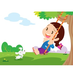 Cute girl sitting on swing vector