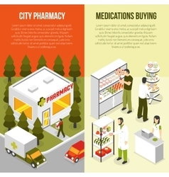Pharmacy 2 vertical isometric banners set vector