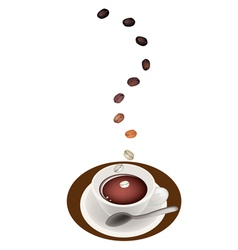 A delicious hot coffee with roasted tamarind beans vector