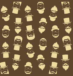 Bearded hipster pattern with glasses moustaches vector