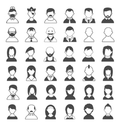 Black and White User Icons vector image