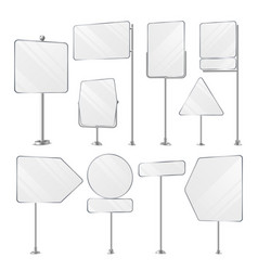 Blank white outdoor holder stands set vector