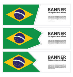 Brazil flag banners collection independence day vector