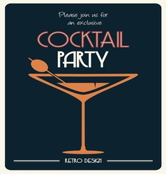 Cocktail party invitation vector