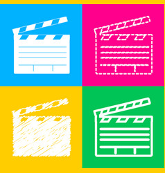 Film clap board cinema sign four styles of icon vector
