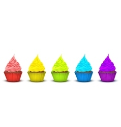 Five cupcakes bright supersaturated colors vector