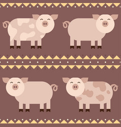 Flat funny pigs smiling seamless pattern vector