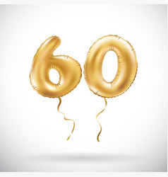 Golden number 60 sixty metallic balloon party vector