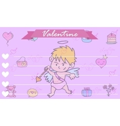 Greeting card cupid background collection vector