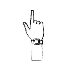 Hand pointing smartwatch sign gesture vector
