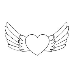 heart with wings flying vector image