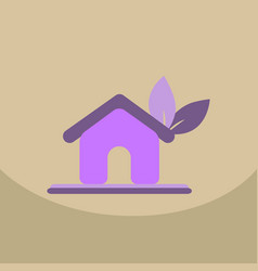 house ecology symbol icon with the leaf on roof vector image