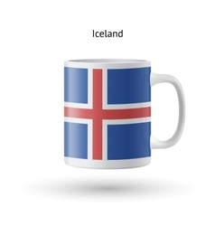 Iceland flag souvenir mug on white background vector
