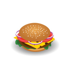 isometric drawing of hamburger with cheese vector image vector image