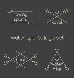 Line art water sports logo set vector
