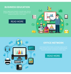 Office network and business education banners vector