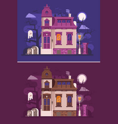old haunted mansion or ghost house scene vector image vector image