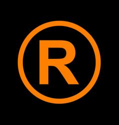 Registered trademark sign orange icon on black vector