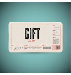 Retro gift card template vector