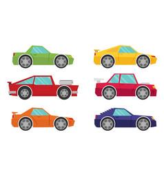 Set of cartoon cars flat vector