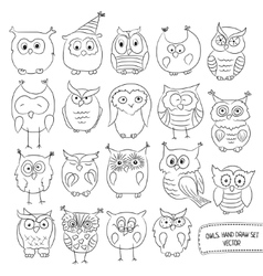 Set of funny owls Drawn by hand vector image vector image