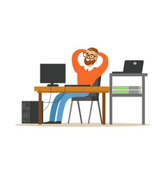 smiling man working on the computer in the office vector image vector image