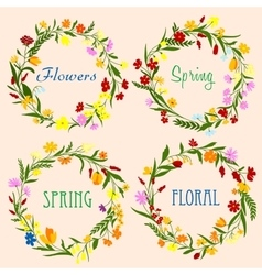 Spring floral wreaths with field flowers and herbs vector image vector image