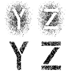 stencil angular spray font letters Y Z vector image