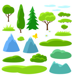 Summer set of trees mountains and hills seasonal vector
