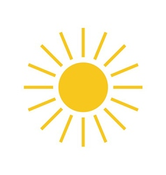 Sun icon light sign with sunbeams yellow element vector