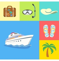 Vacation holidays and travel icons set vector image
