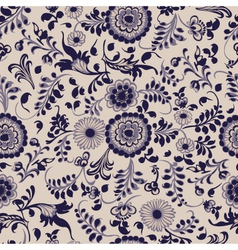 vintage seamless floral pattern gzhel vector image