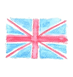 Watercolor British Flag UK United Kingdom vector image vector image