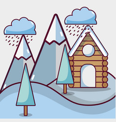 Winter weather with pine trees and cabin vector