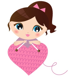 Woman making knitted heart isolated on white vector image vector image