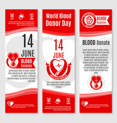World donor day blood donation banners vector