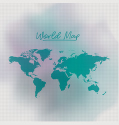world map in green color and grid background white vector image