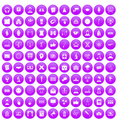 100 conference icons set purple vector