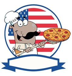 African american chef holding a pizza vector