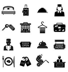 Hotel icons set simple style vector
