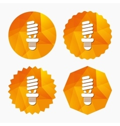 Fluorescent lamp bulb sign icon energy saving vector